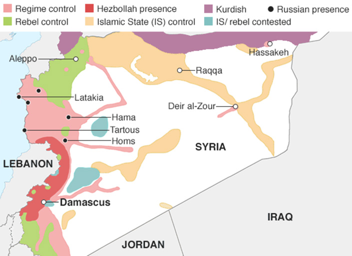 Map of the Syrian war
