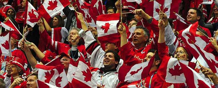 Canadian supporters with flags