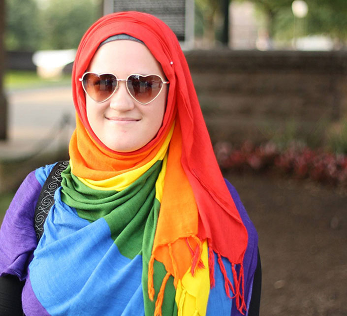Photo of woman wearing a colourful hijab